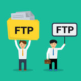 Flat businessmen with FTP sign Royalty Free Stock Photography