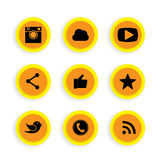 Flat button designs of camera, like, messenger bird, phone recei. Ver, website share - social network vector icons. This also represents rss syndication, cloud Royalty Free Stock Image