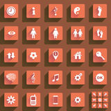 Flat buttons and icons. Set of various flat buttons and icons Royalty Free Stock Images