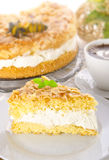 Flat cake with an almond and sugar Royalty Free Stock Photography