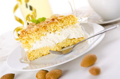 Flat cake with an almond and sugar Stock Image