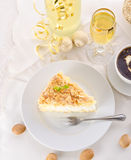 Flat cake with an almond and sugar Royalty Free Stock Photo