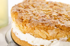 Flat cake with an almond and sugar coating Stock Images