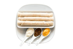 Flat cake and spices Royalty Free Stock Photo