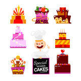 Flat Cakes collection with Confectioner Stock Photography