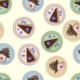 Flat cakes top view pastel pattern. Vector illustration royalty free illustration