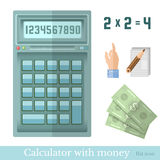 Flat calculator with money hand pointer note Royalty Free Stock Photography