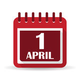 Flat calendar apps icon. 1 april fool`s day Stock Image