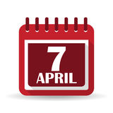Flat calendar apps icon. 7 april World Health Day Royalty Free Stock Image
