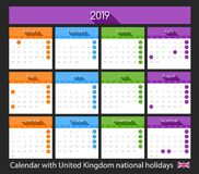 Flat 2019 calendar design with United Kingdom national holidays. Flat calendar design 2019 with Scotland national holiday. United Kingdom royalty free illustration