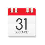 Flat Calendar Icon of 31 December. Vector Illustration Stock Image