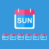 Flat  calendar icon. Illustration of Realistic Vector Calendar Icon made in Trendy Flat Style. Set of Every Day of a Week Calendar Icons Royalty Free Stock Image