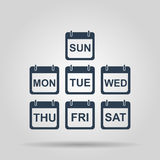 Flat  calendar icon. Illustration of Realistic Vector Calendar Icon made in Trendy Flat Style. Set of Every Day of a Week Calendar Icons Stock Images