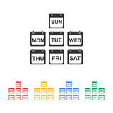 Flat  calendar icon. Illustration of Realistic Vector Calendar Icon made in Trendy Flat Style. Set of Every Day of a Week Calendar Icons Royalty Free Stock Photos