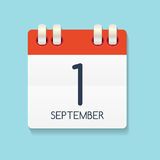 Flat Calendar Icon of 1 September. Vector Illustration. EPS10r Stock Photo