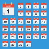 Flat calendar June Icon. Calendar on the wall. Vector illustration. Eps 10 Royalty Free Stock Image