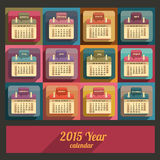 Flat calendar 2015 year design. English, Sunday start Royalty Free Stock Photography