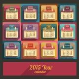 Flat calendar 2015 year design Royalty Free Stock Photography