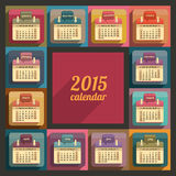 Flat calendar 2015 year design. English, Sunday start Royalty Free Stock Photos