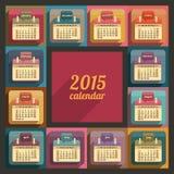 Flat calendar 2015 year design Royalty Free Stock Photos