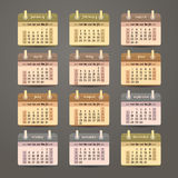 Flat calendar 2015 year design. English, Sunday start Stock Images