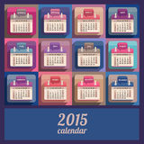 Flat calendar 2015 year design. English, Sunday start Royalty Free Stock Images
