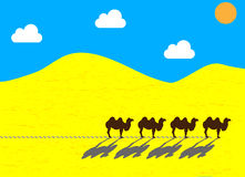 Flat camels going through the desert Royalty Free Stock Photography