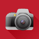 Flat camera icon with long shadow. Royalty Free Stock Photo