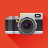 Flat camera icon with long shadow. Royalty Free Stock Images