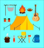 Flat Camping Elements Collection. With backpacking equipment and accessories on turquoise background isolated vector illustration Royalty Free Stock Photos