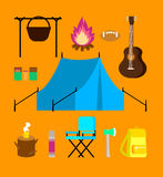 Flat Camping Icons Set Stock Photography