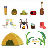 Flat Camping Icons Set Stock Image