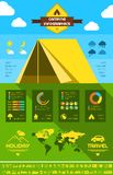 Flat Camping Infographic Template. Royalty Free Stock Photography