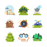 Flat camping outdoor vector icons Stock Photo