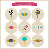 Flat Candy Sweets Treats Icons Set Royalty Free Stock Photos