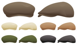 Flat cap. A selection of flat caps in various colors Royalty Free Stock Image