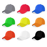 Flat caps set with different colors Royalty Free Stock Photo
