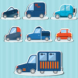 Flat car icons on a white background. Stickers flat cars for infographics can be used in games Royalty Free Stock Image