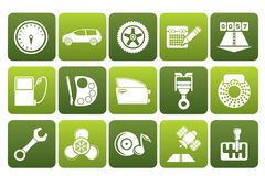 Flat car parts, services and characteristics icons. Vector icon set Royalty Free Stock Photography