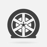 Flat car tire. Vector icon isolated on grey background vector illustration