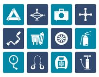 Flat car and transportation equipment icons. Vector icon set Stock Images