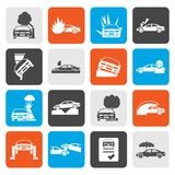 Flat car and transportation insurance and risk icons. Vector icon set Royalty Free Stock Photos