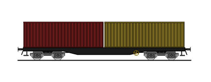 Flat car whit shipping containers Royalty Free Stock Photo