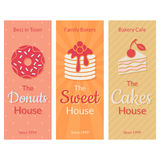 Flat card with sweet pastries Royalty Free Stock Photo