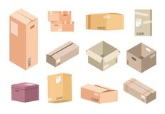 Flat cardboard boxes. Carton parcels delivery, open and closed isolated isometric packages, warehouse packs and goods vector illustration