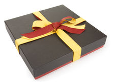 Flat cardboard gift box. On white, official style Stock Photo