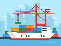 Flat cargo ship in docks. Harbor crane of shipping port loading containers to marine freight boat vector illustration. Flat cargo ship in docks. Harbor crane of Royalty Free Illustration