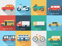 Flat cars concept set icon backgrounds Stock Images