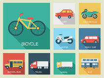 Flat cars concept set icon backgrounds Royalty Free Stock Photo