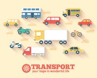 Flat cars concept set icon backgrounds Stock Image